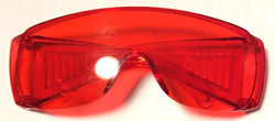 Solid plastic red UV goggles
