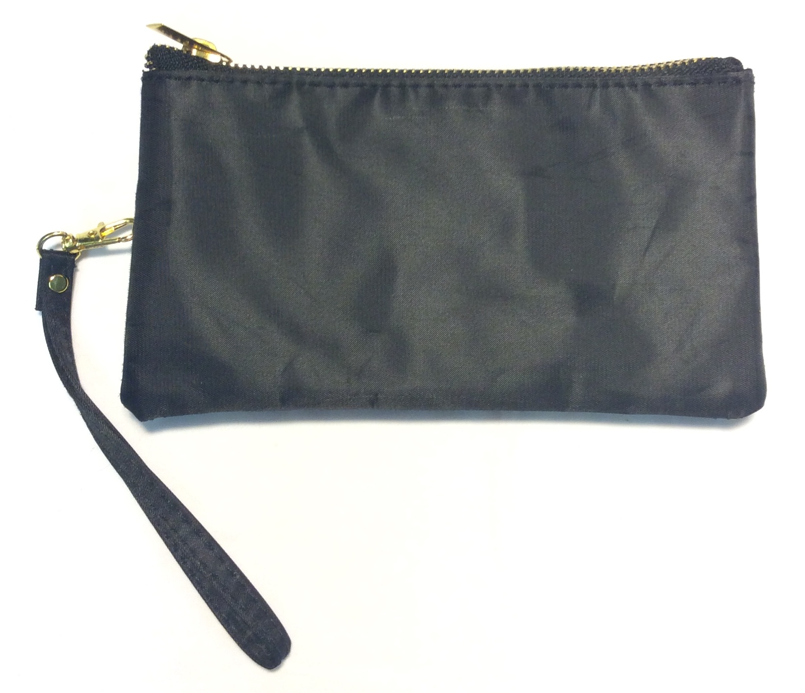 Black fabric wallet with gold zipper