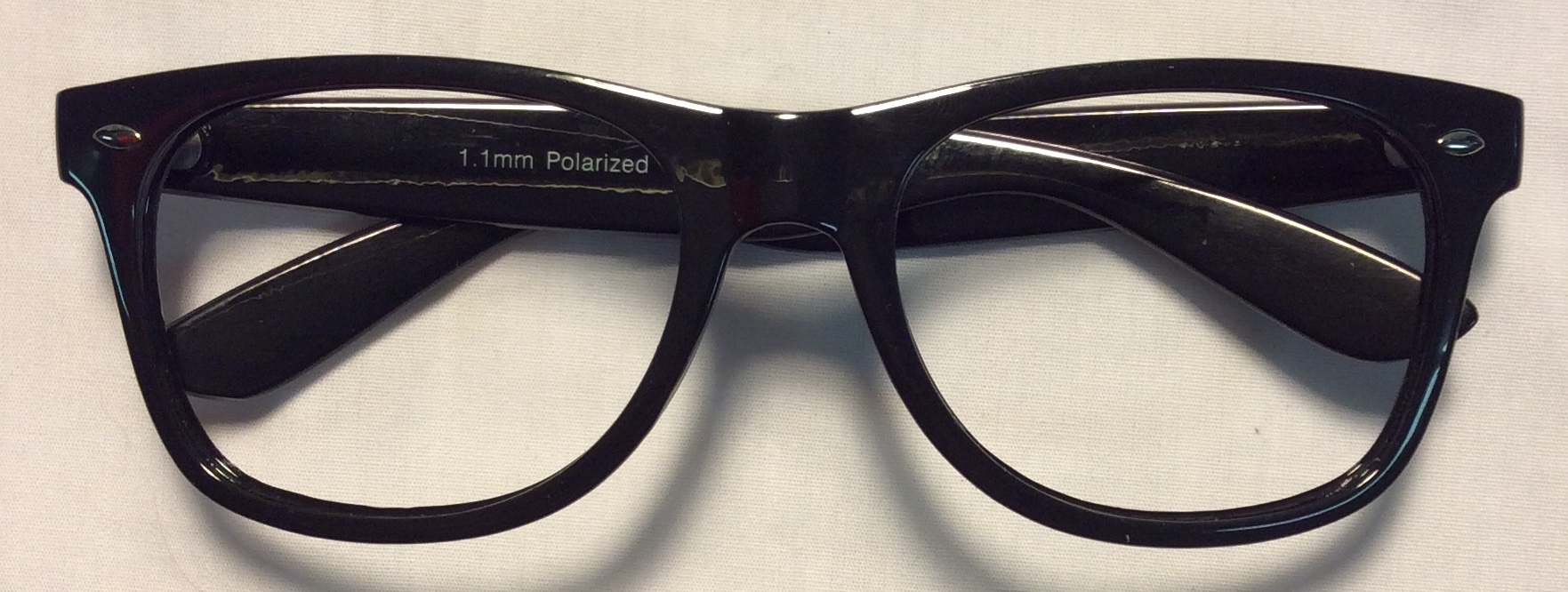 Thick black plastic frames, small