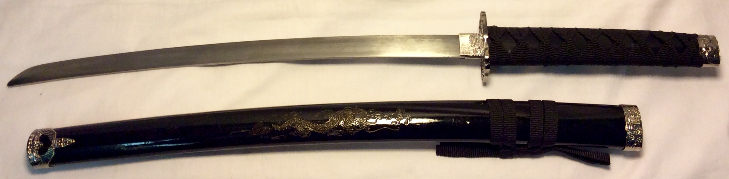 Katana with saya with gold dragon