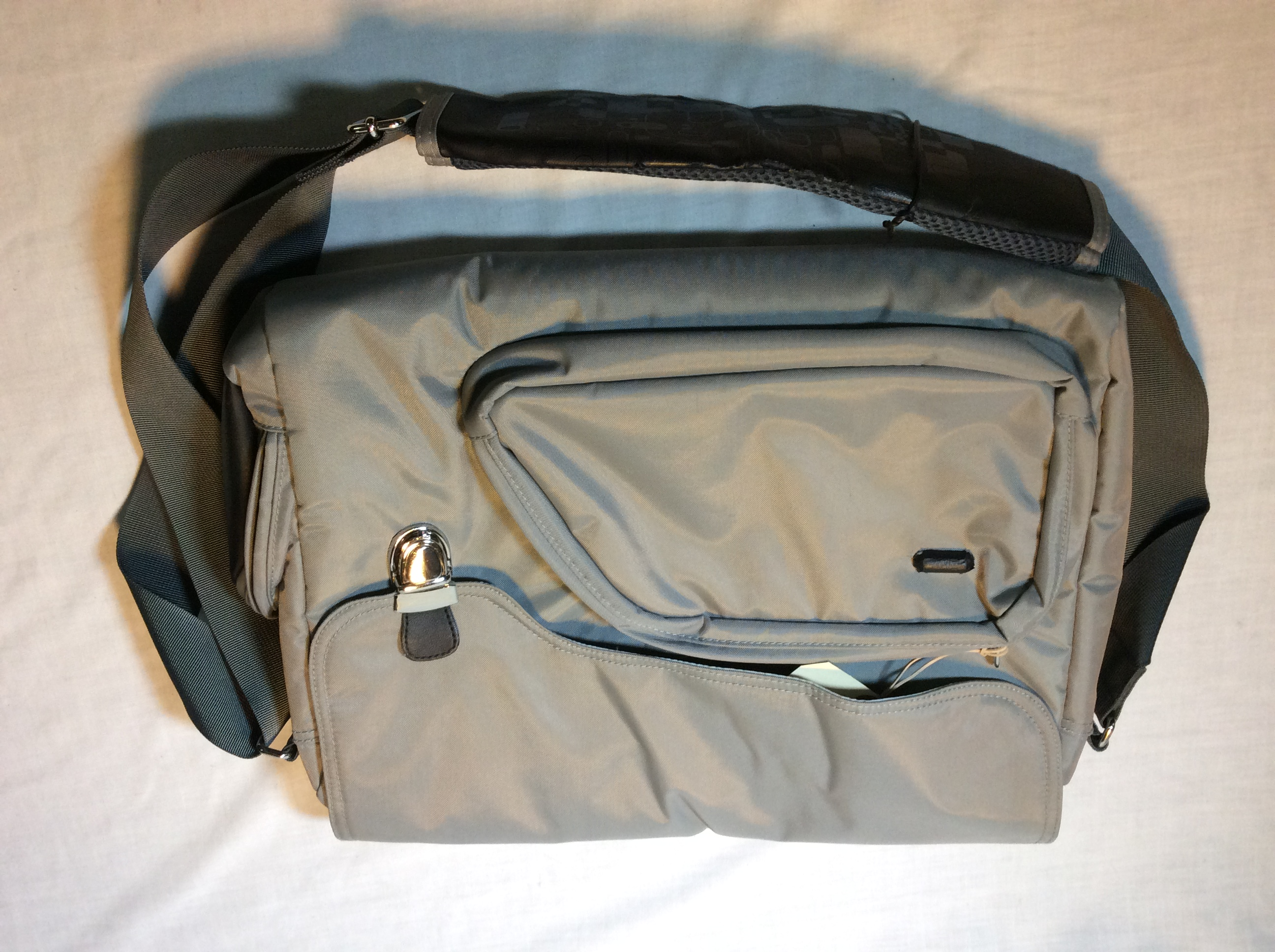 Grey Shoulder Bag with Metal Clip