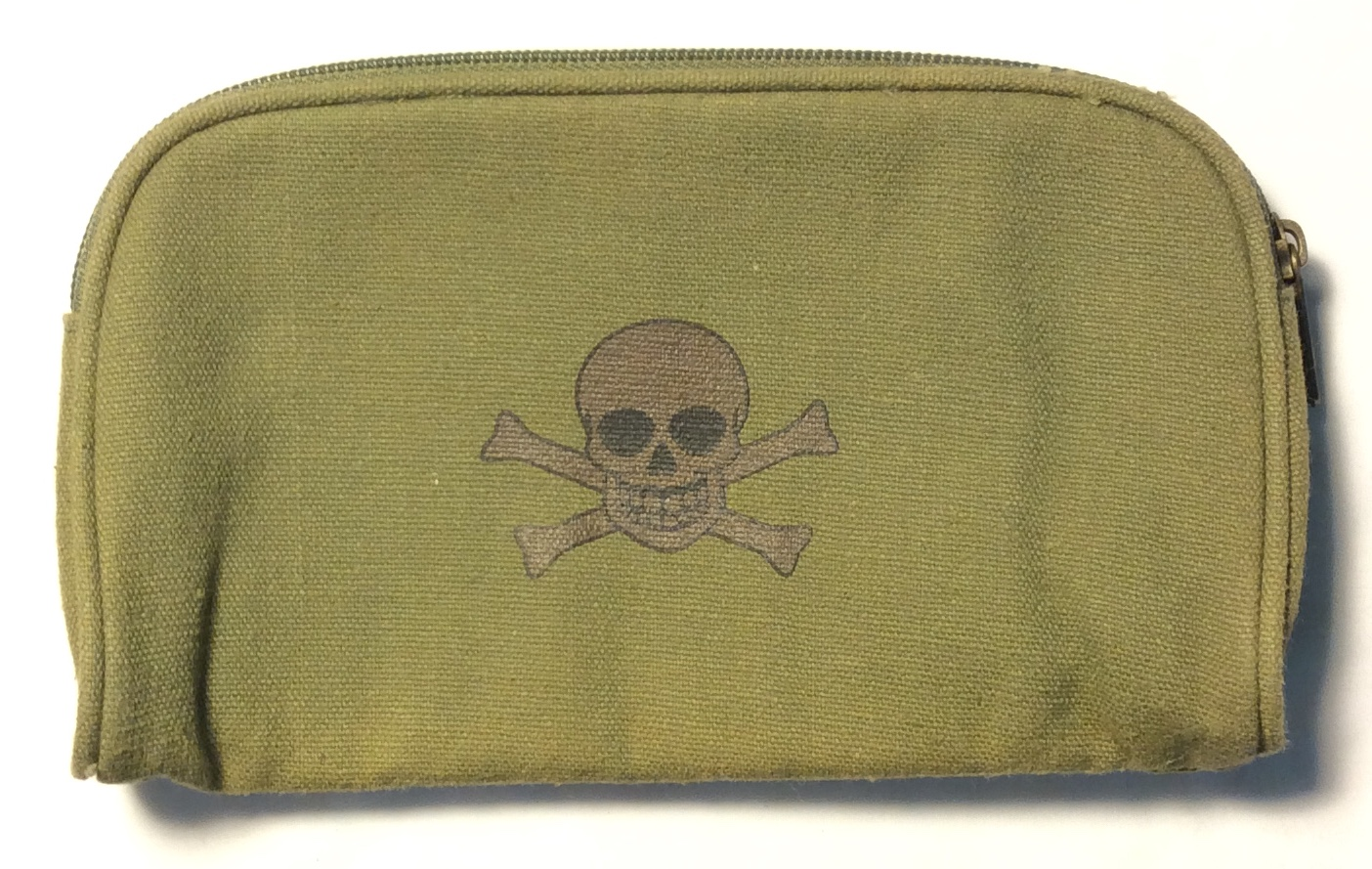 green canvas pencil case with skull