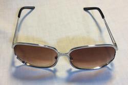 Large square silver sunglasses