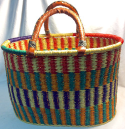 Multicolor African straw bag oval shaped base