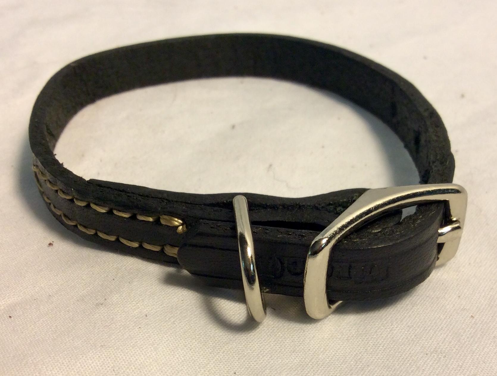 Dog collar black leather