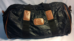 Black pleather with brown leather