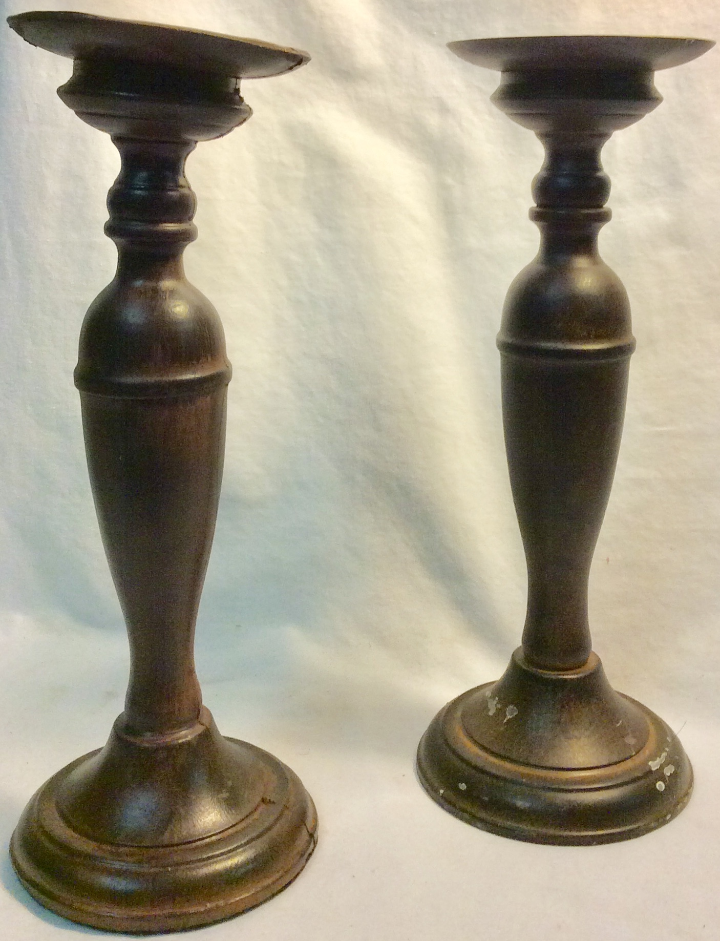 Wooden candle holder x2 real x4 rubber