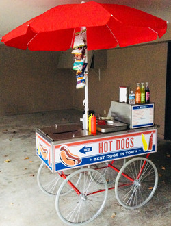 Street food cart with dressing items. Red, navy and black umbrella. Removable panels (in house desig