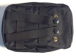 Black nylon back pouches with straps