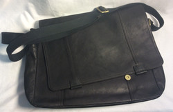 Fossil Black leather shoulder/laptop bag with snap buckles