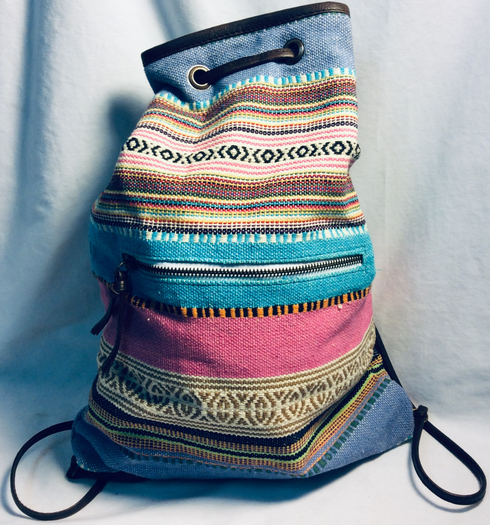Multicolor pattern woven backpack