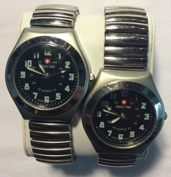 Swiss Time watch - Round black face