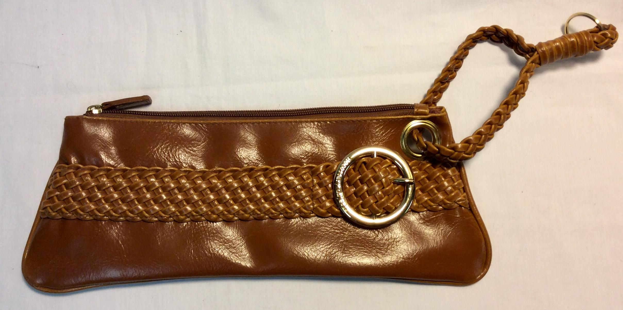 Orange brown pleather purse