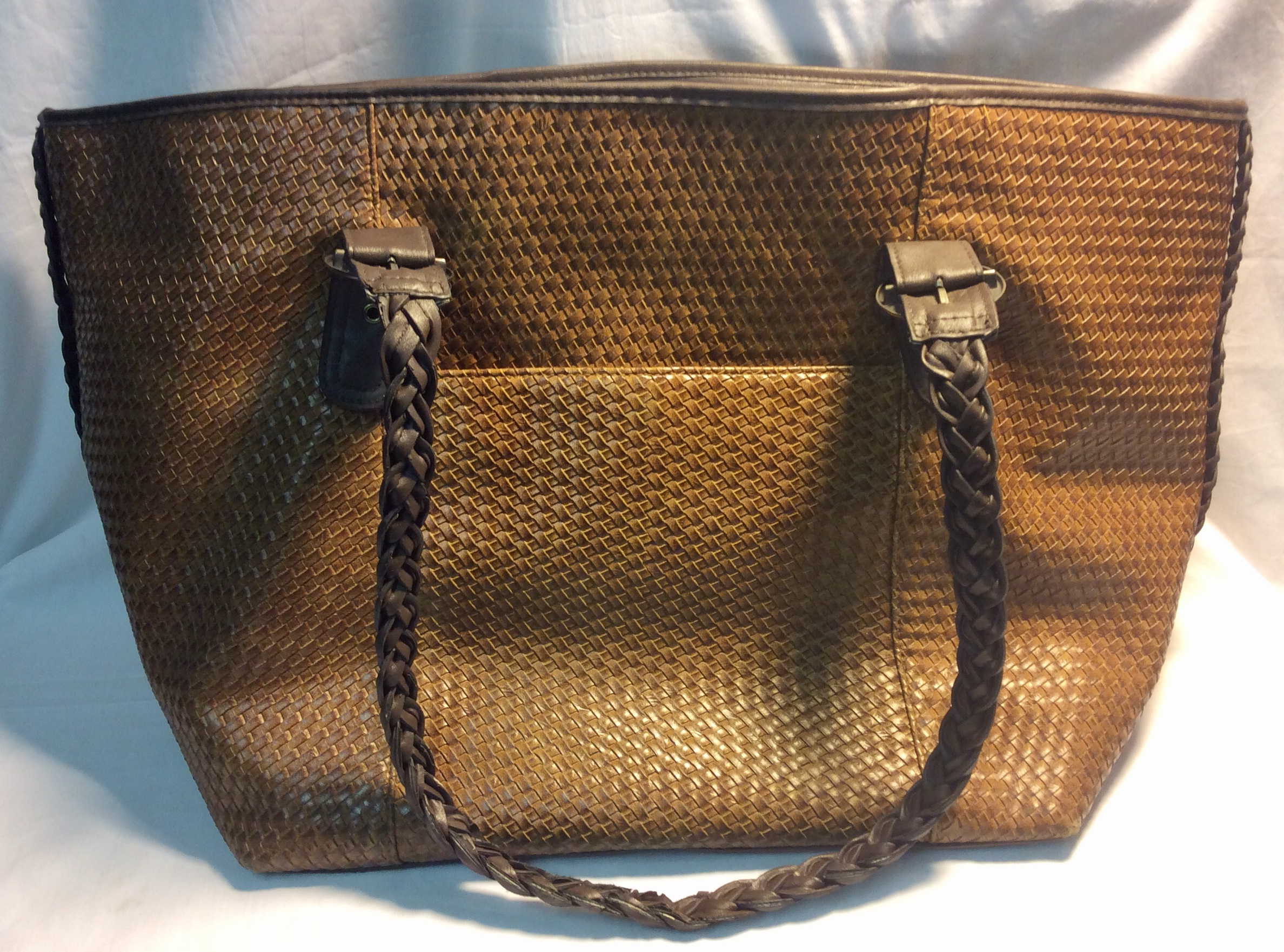 Big brown leather woven bag