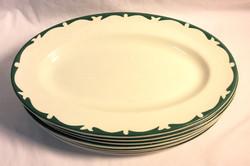 Vintage Diner oval plates, green waves x8