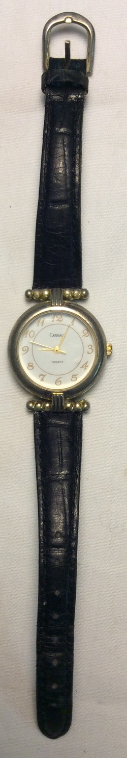 Carriage watch - round white face