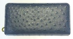 Dark blue textured leather wallet