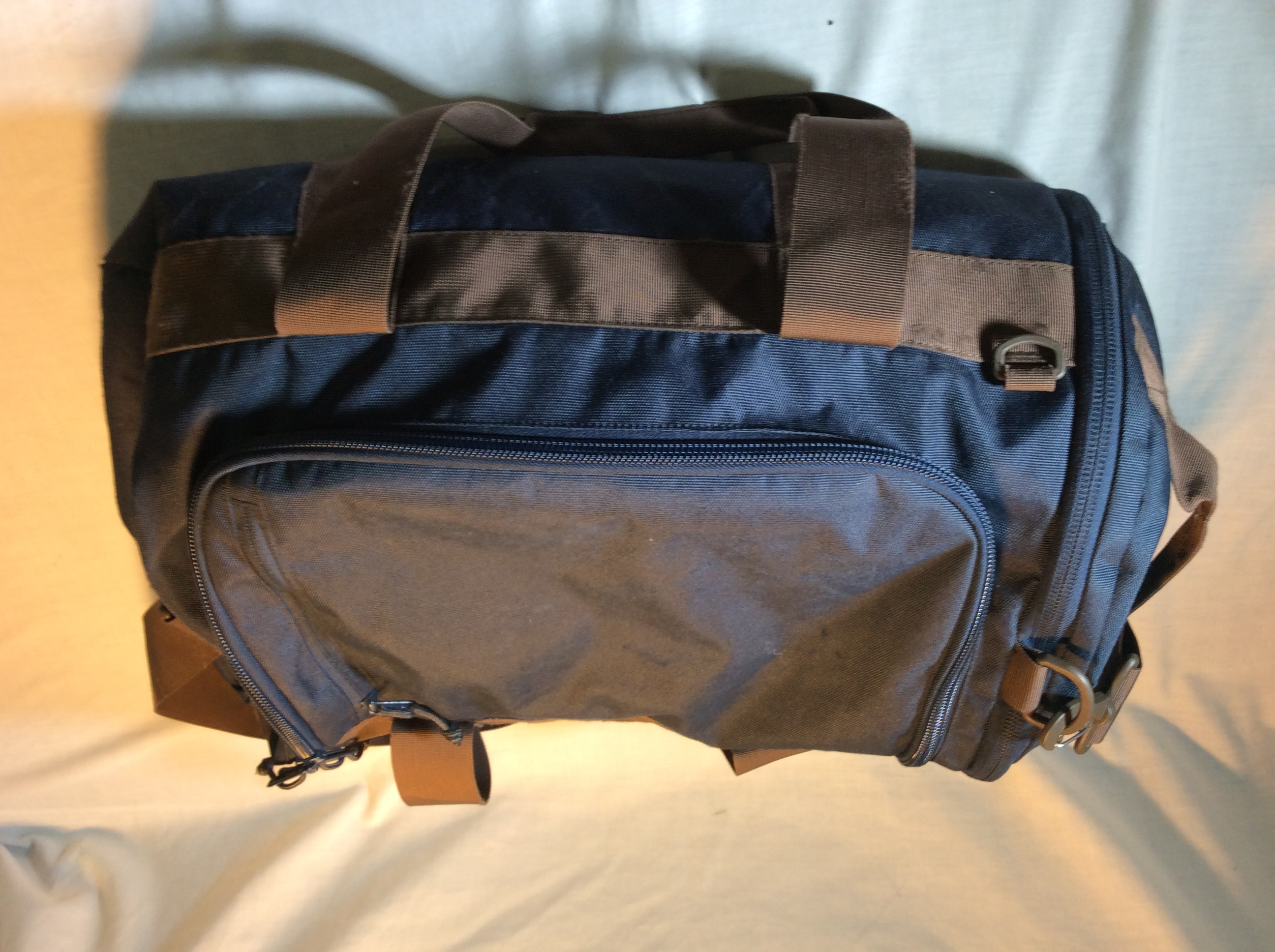 Blue and Brown Duffle Bag