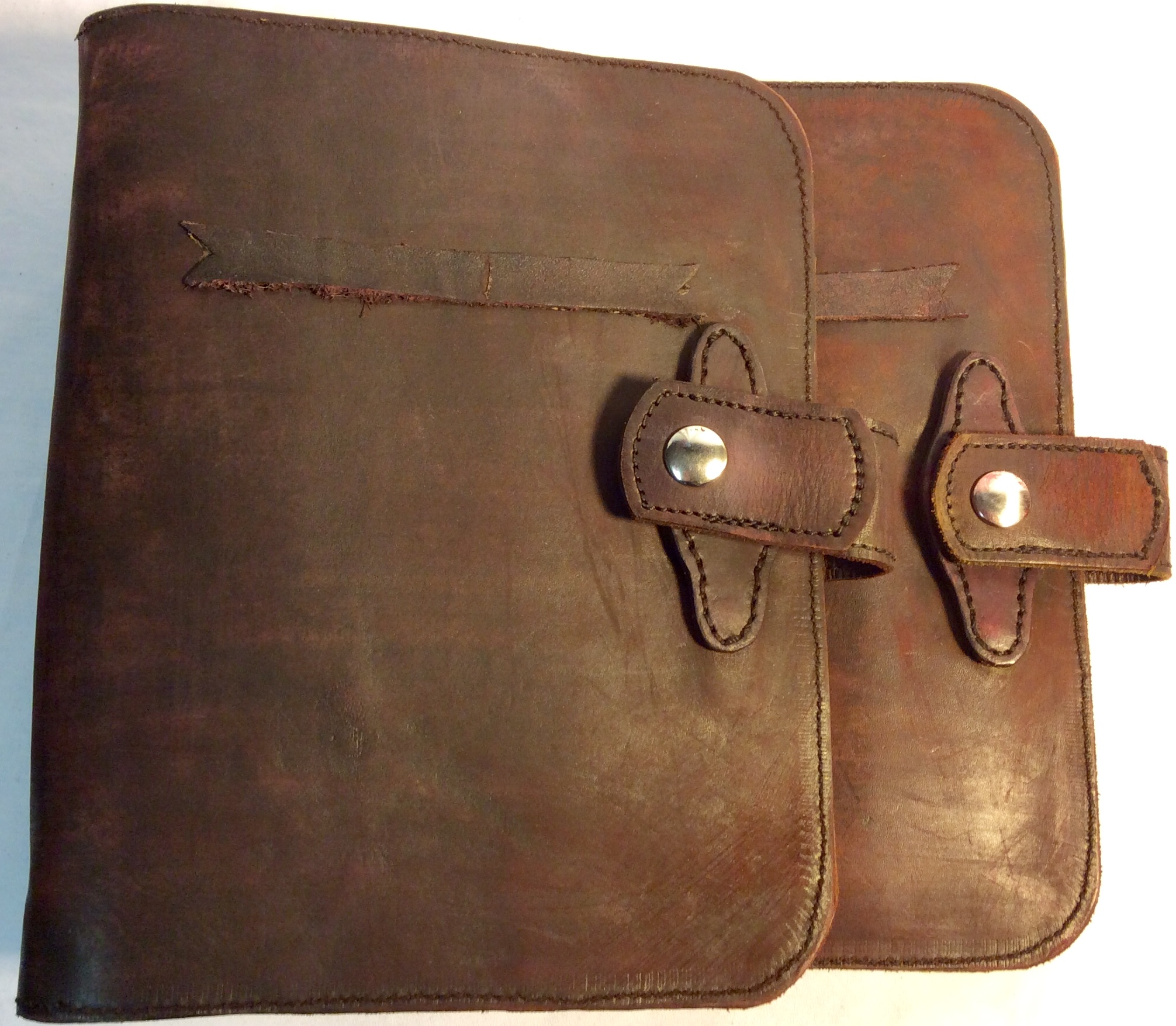 Aged brown leather notebook cover