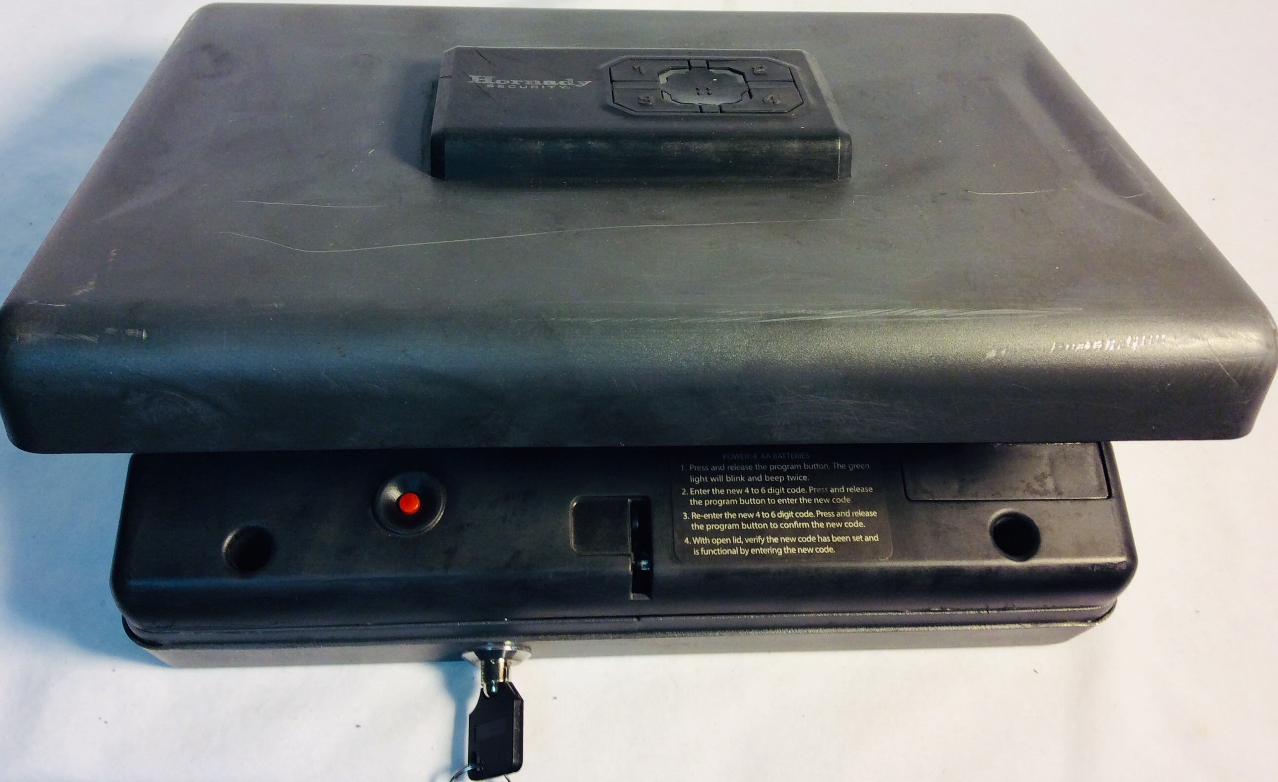 Hornady Gun safe with keys and digital lock.