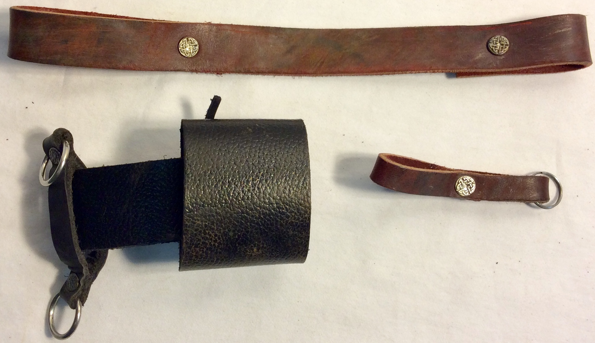 Sword holster with celtic symbols x2 brown x1 black