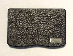 Black leather card holder w/ silver