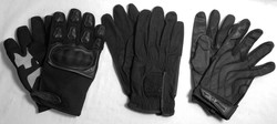 Assorted pairs of black gloves. x1 motorcycle style; x1 batting glove style