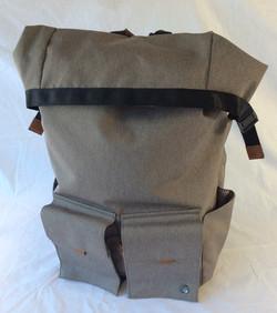 Grey modern folding top backpack