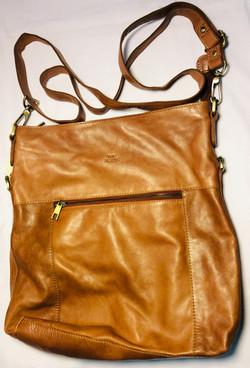 Light brown soft leather handbag