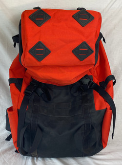 Medium orange and black backpacking bag