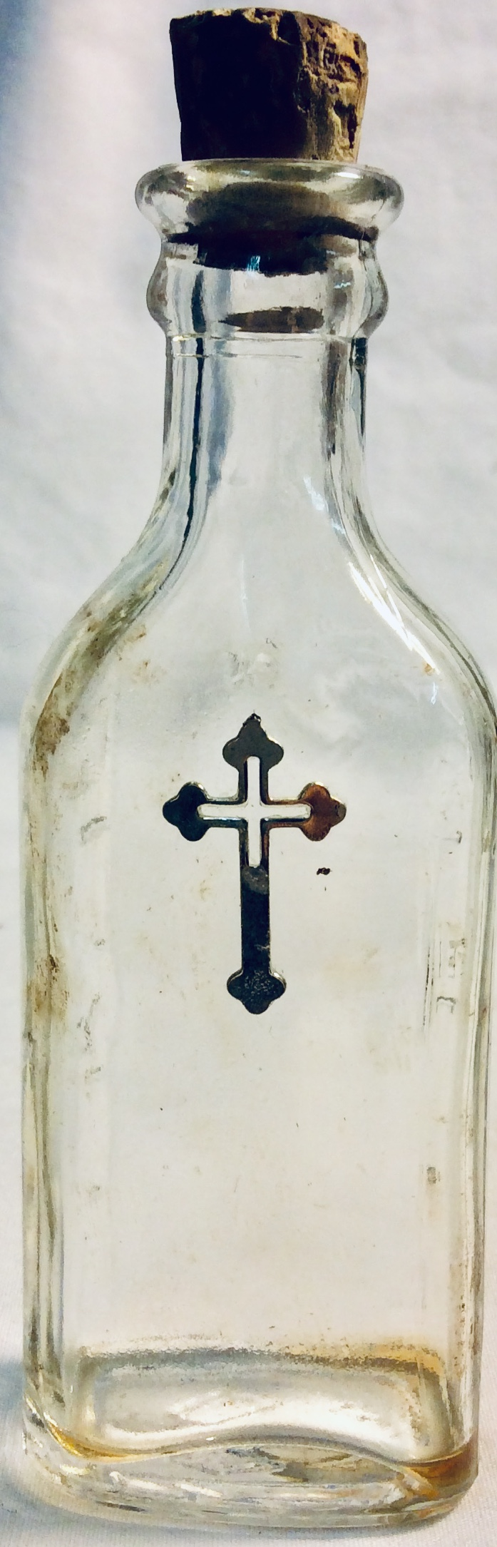 Holy water small glass bottle