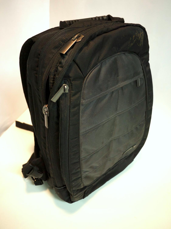 Black backpack grey front