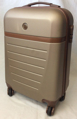 Beige hard-case suitcase with leather detail