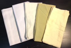 "Cloth Napkins 20""x20"" - x10 offwhite, x4 white, x3 wide hem, x4 green, x11 yellow"