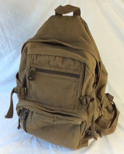 Vintage-style large backpack, military olive