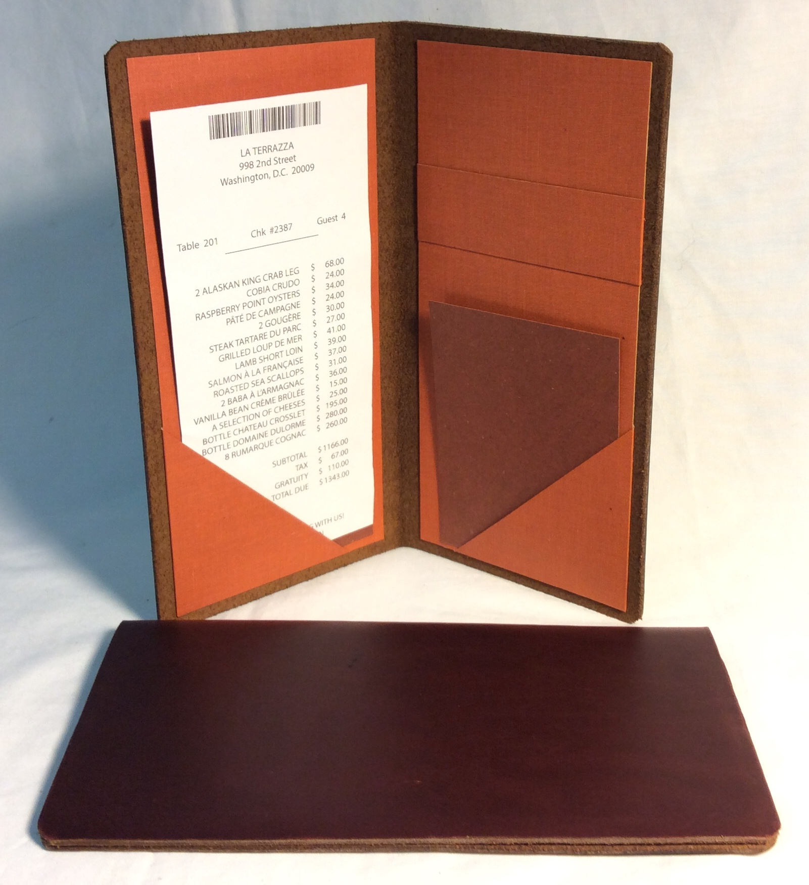 Brown leather bill folder