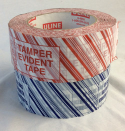 Tamper Evident Tape, blue and red