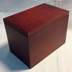 Red stained wooden recipe box