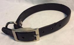 Aged black leather dog collar