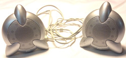 M Gear Two round silver speakers