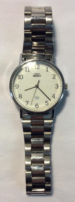 Timex White face, silver metal strap