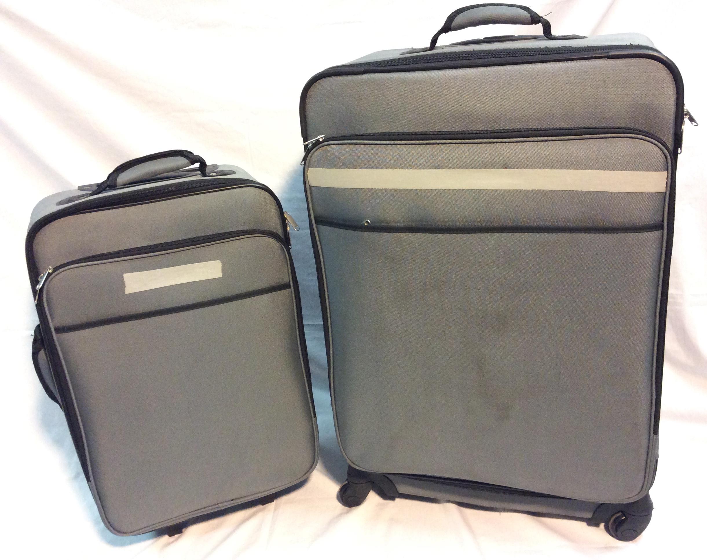 2pcs Luggage set: grey with black
