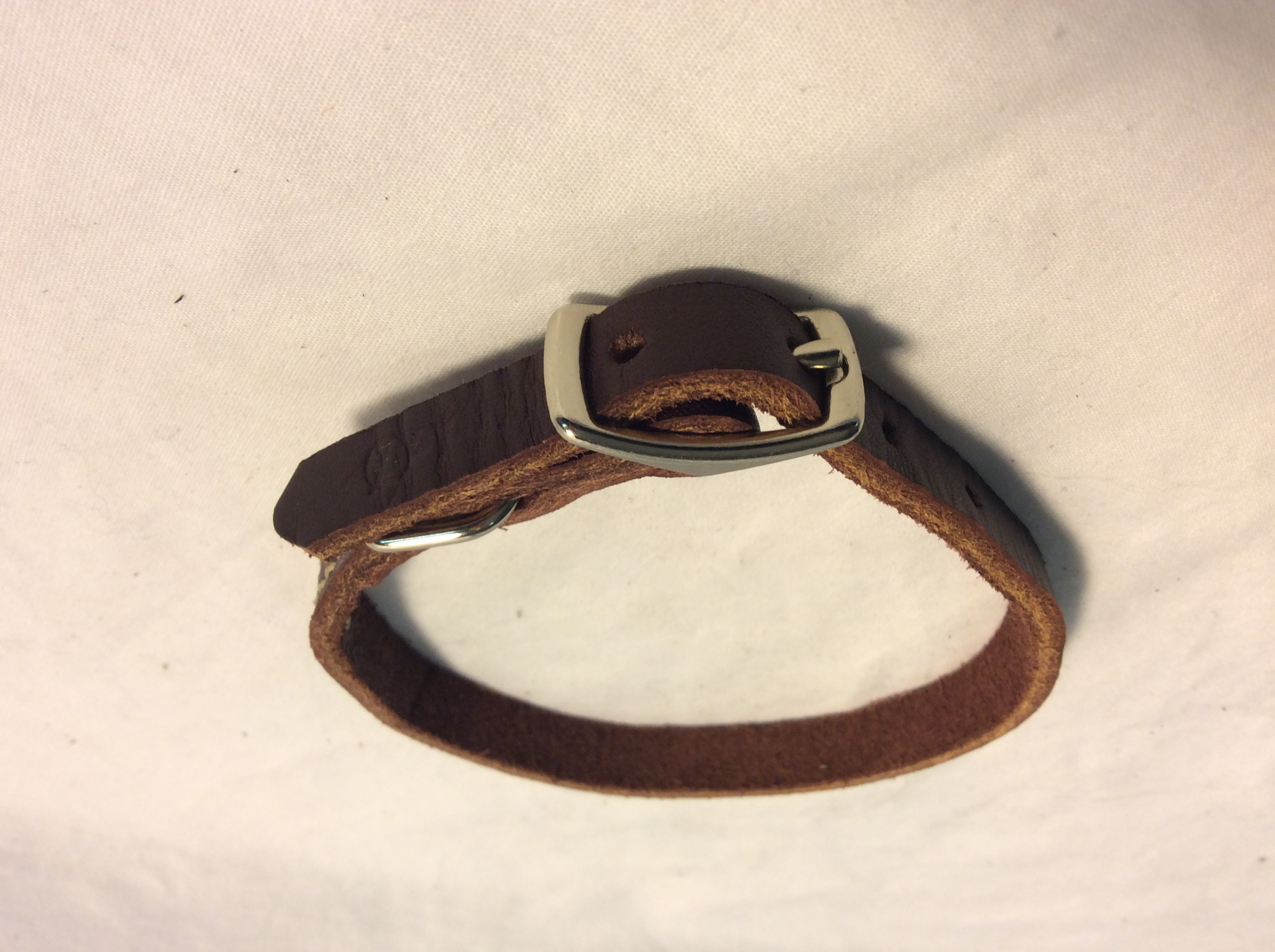 Dog collar leather with purple tinge