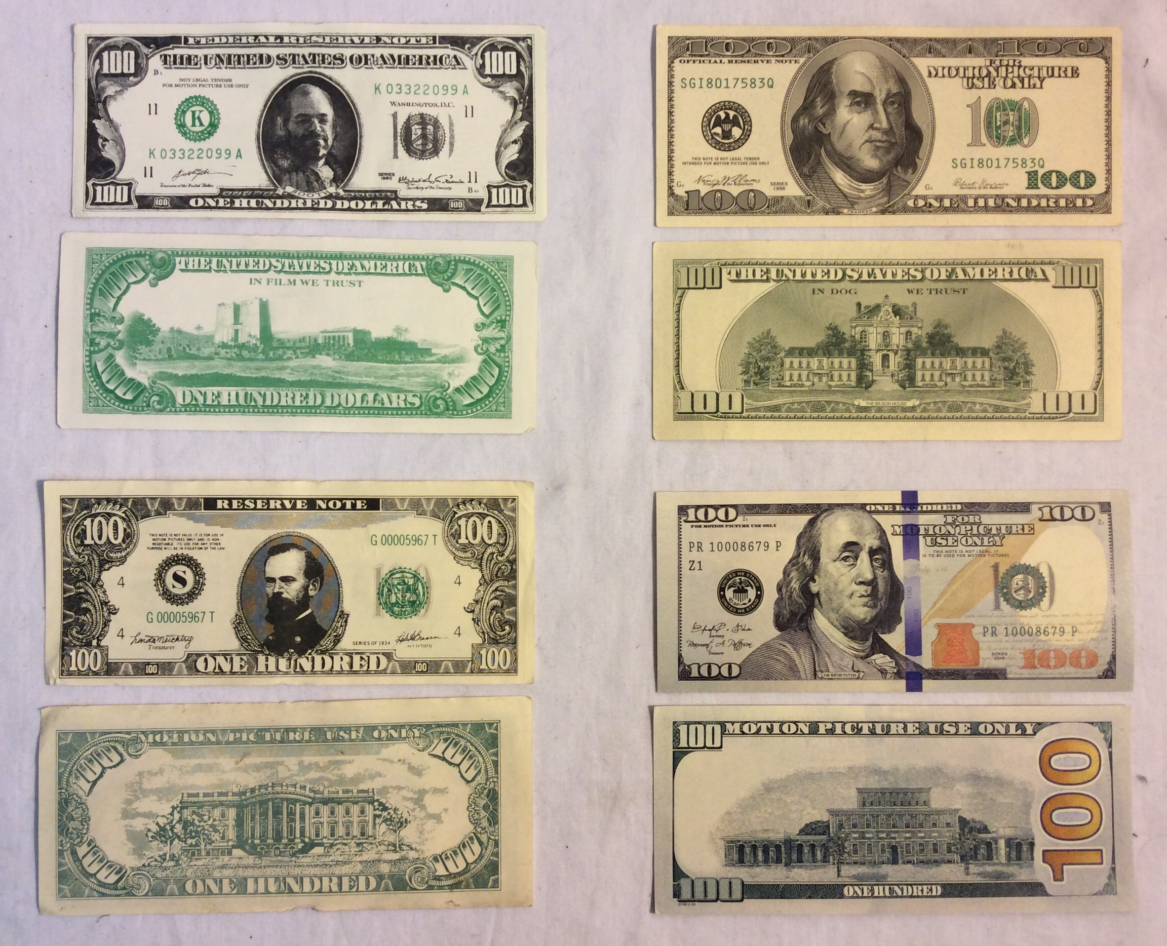US $100 Bill, double-sided, 4 styles