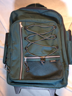 Green backpack with wheels