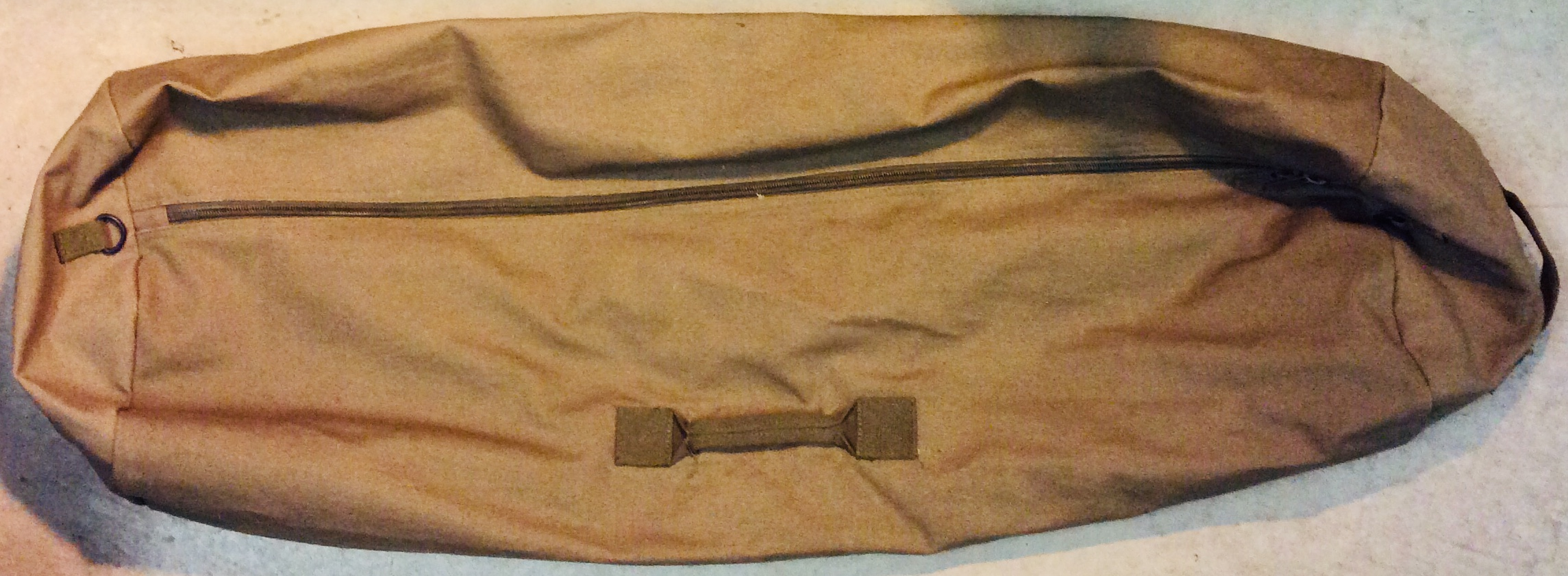 Military green canvas extra long duffle bag