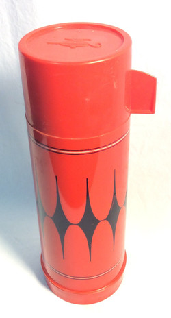 Red-Orange and Black Thermos