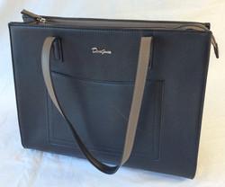 David Jones black leather handbag with brown detailing