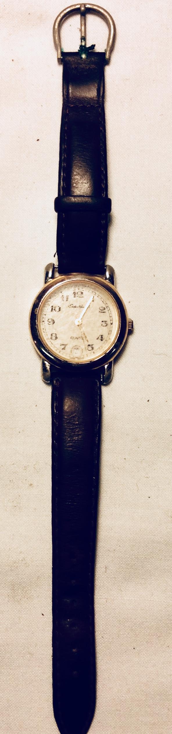 Gold framed face watch