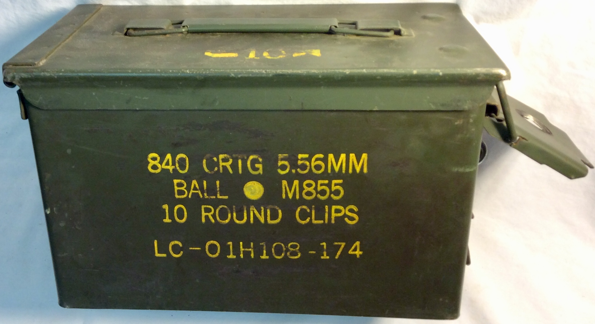 Military metal ammunition box for 10 round clips.